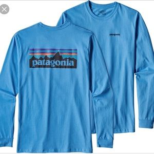 Patagonia mountain Logo Blue Long Sleeve T Shirt
